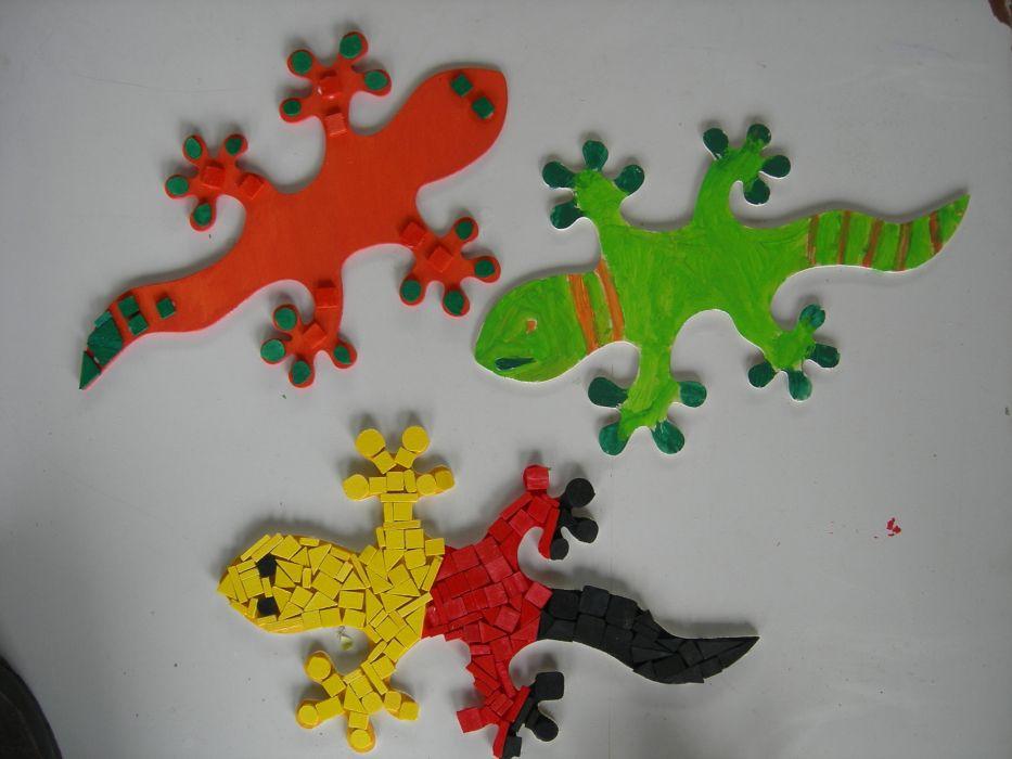 Holzmosaike Gecko